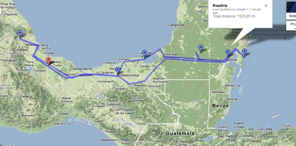 Map Southern Mexico%0A map road trip